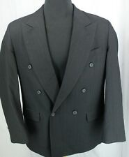 Todays Man Double Breasted Black Pinstriped 100% Wool Sport Coat Blazer Size 40R
