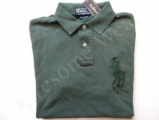 New Ralph Lauren Polo 100% Cotton Custom Fit Big Pony Faded Forest Green Shirt S