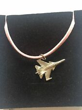 Sukhoi Su-35 C61 Aircraft Fighter Pewter Pendant on a PINK CORD Necklace