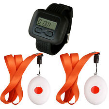 SINGCALL Wireless Nursing Calling System for Old Disabled 1 Watch 2 Bells