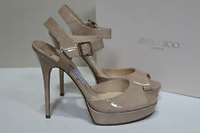 New sz 11 / 41 Jimmy Choo Linda Nude Patent Leather Ankle Strap Heel Sandal Shoe