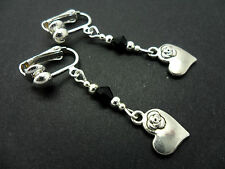 A PAIR TIBETAN SILVER & BLACK CRYSTAL BEAD DANGLY HEART CLIP ON  EARRINGS. NEW.