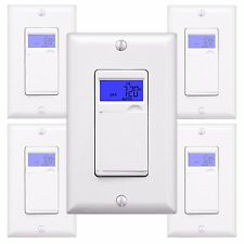5PK 7-Day Digital Programmable Timer In-Wall Outlet Light Switch