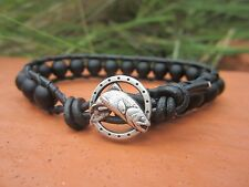 Men's Gift biack Onyx Sports Surf Black Leather Bracelet w/ trout fish button