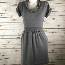 C KEER Anthropologie Iren Cowl Draped Neck Banded Waist Dress Size XS Gray