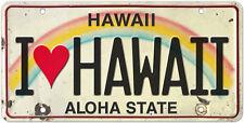 6in x 12in Vintage Hawaiian Embossed License Plate - I Love Hawaii