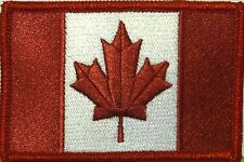 CANADA Flag Patch With VELCRO® Brand Fastener Burgundy & White Version #3
