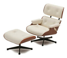 REAC JAPAN Designer Chair Eames White Lounge Chair with Ottoman 1:12  Collection