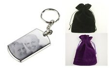 ENGRAVED BOTH SIDES SILVER RECTANGLE KEYRING PHOTO & TEXT PERSONALISED GIFT