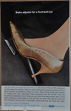 1961 Ford advertisement, Lady's FOOT in HIGH HEEL SHOES, Brake Pedal