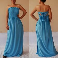 NWT Sexy Women Sky Blue Strapless Summer Maxi Dress Casual Cocktail Party Sz 2XL