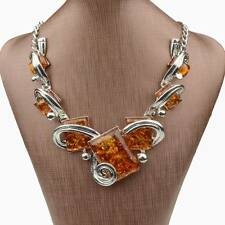 Tibet Silver faux amber Square Pendant Statement Collar Necklace Graceful