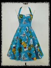 dress190 BLUE BUTTERFLY HALTER ROCKABILLY SWING VTG COCKTAIL PROM DRESS 18-20