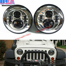 """2X 7"""" LED Projector Round Headlights Chrome Housing Low/High H6024 H6012 (Pair)"""