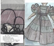 "12""ANTIQUE FRENCH FASHION LADY DOL@1861 PARTY DRESS&UNDERWEAR PATTERN&FABRIC KIT"