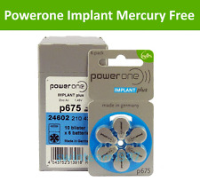 60 Powerone Size 675P Cochlear Implant **Mercury Free** Hearing Aid Batteries