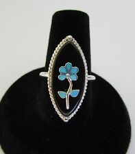 Native American Zuni Sterling Onyx & Turquoise Inlay Ring Size 6 Rene Lasiloo