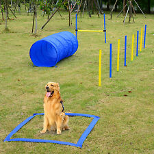 Pet Agility Set Training Play Kit Dogs Hound Set Pole Tunnel Obedience Equipment
