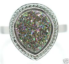 Solid 925 Sterling Silver Multi-color Pear Shape Druzy Cocktail Ring Size 7 '
