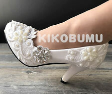 White Ivory Lace Gems bridal wedding heels flat bridesmaid pump shoes size 5-12