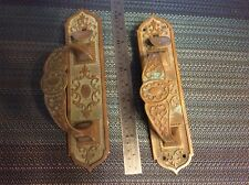 architectural salvage - antique brass door handles - Thumb Latch - ornate