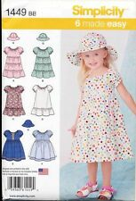 SIMPLICITY SEWING PATTERN 1449 TODDLERS/GIRLS SZ 2-4 PEASANT STYLE DRESS & HAT