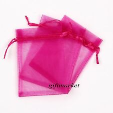 50Pcs 7x9cm Fuchsia Organza Jewelry Pouch Wedding Party Gift Bags Decoration