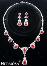 925 Sterling Silver Glorious Fire Red Garnet Necklace Earring Jewelry Sets XK009