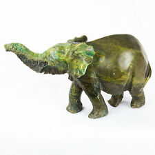 Hand Carved African Elephant Stone Sculpture - Dark Green Stone - 15 cm