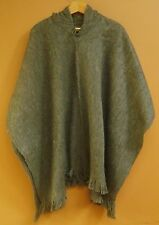 NEW, ALPACA - LLAMA WOOL HOODED PONCHO, CLOAK, HOODIE, GREY COLOR ANDEAN WARM a