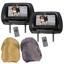 "Tview T77PL 7"" TFT LCD Headrest Monitor, 3 Interchangeable Headrest Covers"