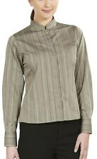 Simon Jersey Ladies Striped Mandarin Collar Long Sleeve Blouse Fawn Size 28