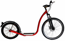 Scooter, adult size, large wheels, Push & Kick Toucan 26 Red