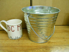 2 Qt Galvanized Pail with Wire Handle Planter Garden Feed Wedding Parties (#129)