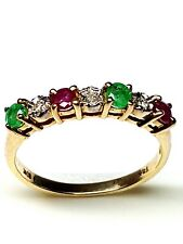 Stunning Emerald , ruby and Diamond eternity 9ct yellow Gold Ring Size M 1/2