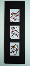 5.5x17 Butterfly Hummingbirds Cherry Blossom Asian Art  - Chinese Brush Painting