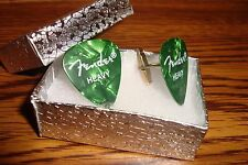 Fender Heavy Green Pearlescent Guitar Pick Cuff links 1 Pair (Two) Gold Plated