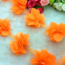 New Hot 1 Yard Orange Flower Chiffon Wedding Dress Bridal Fabric Lace Trim