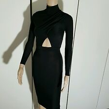 NEW BLACK HIGH NECK LONG SLEEVE CUT OUT RUCHED MIDI BODYCON DRESS 6 8