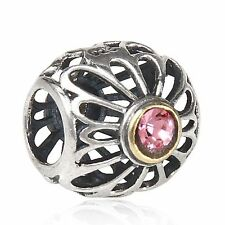 OPENWORK FLOWER GOLD PINK 925 sterling silver charm bead fit European bracelet