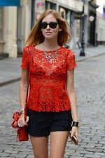 Celebrity!! ZARA RED Lace Peplum Top Extra small XS Shirt Blouse