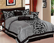 Donna 8-Piece Comforter Bedding Set Flocking Over Sized King Queen Full 4 Colors