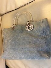 Authentic Christian dior  lady  cannage hand bag purse denim