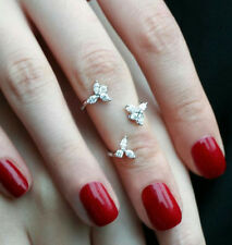 Cute Delicate Knuckle Ring 925 Sterling Silver Round Marquise CZ all Sizes her