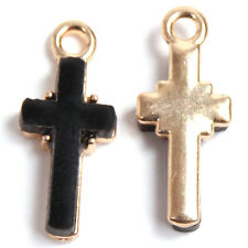 100pcs New Wholesale Gold Plated Black Rhinestone Alloy Cross Pendant Findings L