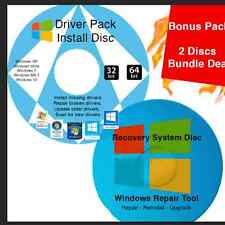 Windows 7 Home Premium Recovery 64 Bit Install, Boot, Restore DVD 2 Disc +Driver