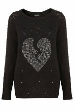 New TOPSHOP knitted embellish heart jumper UK 10 in Black