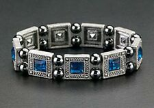 New Blue Crystals Magnetic Bracelets Hematite Beads Therapy Silver Free Shipping