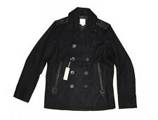 DIESEL WECKHARD BLACK WOOL BLEND PEACOAT SIZE L 100% AUTHENTIC