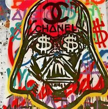 """Alec Monopoly Oil Painting on Canvas Urban art decor Chanel Darth Vader 28x28"""""""